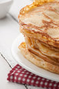 Closeup of fresh pancakes on plate stack Stock Photos