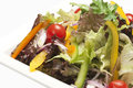 Closeup of fresh vegetable salad on a white plate Royalty Free Stock Image