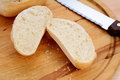 Closeup of a freshly cut bread roll Royalty Free Stock Photo