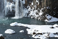 Closeup of frozen waterfall Godafoss, Iceland Royalty Free Stock Photo