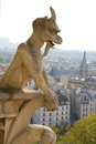 Closeup of gargoyle on the Notre-Dame de Paris Royalty Free Stock Photo