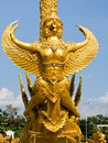 Closeup of garuda golden wax sculpture at Tung Sri Muang park in Ubon Ratchathani province, Thailand Royalty Free Stock Photo