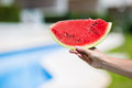 Closeup girl female hands with watermelon Royalty Free Stock Photo