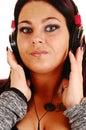 Closeup of girl with headphones. Stock Photography