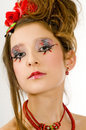 Closeup girl special eye makeup Royalty Free Stock Image