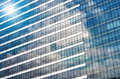 Closeup glass of Modern business building skyscrapers, Business Royalty Free Stock Photo