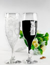 Closeup glasses in bride and goom costumes wedding wine Royalty Free Stock Photography