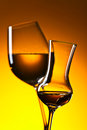 Closeup of glasses with white wine