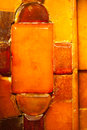 Closeup of golden amber mosaic as background or texture. Gem. Stock Photo