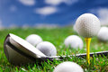 Closeup of golf ball and bat! Royalty Free Stock Images