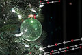 Closeup Green Ball Ornament on Christmas Tree Stock Photos