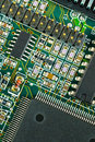 Closeup of green electronic circuit board PCB Stock Photography