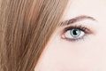 Closeup of green eye and perfect skin Royalty Free Stock Photo