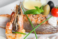 Closeup of grilled shrimp and salmon, seafood meal Royalty Free Stock Photo