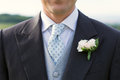 Closeup of a groom handsome in full suit Royalty Free Stock Photography