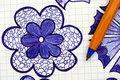 Closeup of hand drawn flower with ballpoint pen Royalty Free Stock Photo