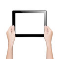 Closeup hand holding tablet isolated clipping path inside