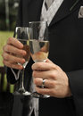 A closeup of the hands of two men wearing suits holding champagne flutes with wedding rings Stock Images