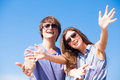 Closeup of happy young couple in sunglasses smiling this image has attached release Royalty Free Stock Photos