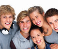 Closeup of happy young men and women smiling Stock Photos