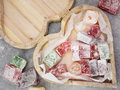Closeup of heart shaped wooden box containing turkish delight Royalty Free Stock Photo
