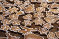 Closeup of homemade decorated gingerbread biscuits in different shapes Royalty Free Stock Photo