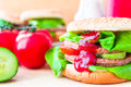 Closeup homemade hamburger fresh vegetables Royalty Free Stock Photography