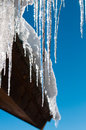 Closeup of Icycles off roof Royalty Free Stock Photo