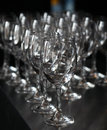 Closeup image of empty stemware standing on a black table Royalty Free Stock Images