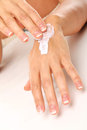 Closeup image of hands in SPA Stock Images