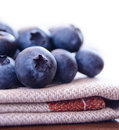 Closeup image of ripe blueberries on the fabric serviette Stock Photo