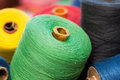 Closeup image of various colour threads thread rolls Royalty Free Stock Photography