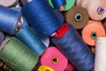 Closeup image of various colour threads thread rolls Royalty Free Stock Images