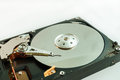 Closeup inside hard disk drive, data storage device Royalty Free Stock Photo