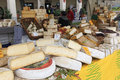 Closeup of italian cheese with relative price tags at the moncalvo truffle fair italy october Royalty Free Stock Photos