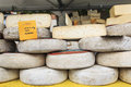 Closeup of italian cheese with relative price tags at the moncalvo truffle fair italy october Stock Images