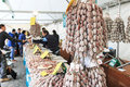 Closeup of italian salami with relative price tags at the moncalvo truffle fair italy october Stock Image