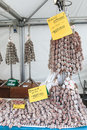 Closeup of italian salami with relative price tags at the moncalvo truffle fair italy october Stock Photography