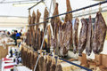 Closeup of italian salami with relative price tags at the moncalvo truffle fair italy october Stock Images