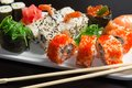 Closeup of japanese  seafood  sushi Stock Photos