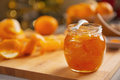 Closeup on jar with orange jam table Royalty Free Stock Photo