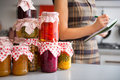 Closeup on jars with homemade fruits jam Royalty Free Stock Photo