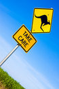 Closeup of kangaroo road  sign Royalty Free Stock Photo