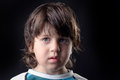 Closeup of a kid with a shy expression Stock Images