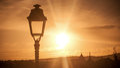 lamppost on sunset landscape background Royalty Free Stock Photo