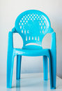 Closeup of light blue child seat. Back holes with the elephant. Royalty Free Stock Photo