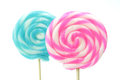 Closeup of lollipops close up sweet isolated on white background Stock Image