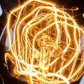 Closeup looping filament of vintage edison light bulb carbon Stock Photo