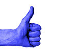 Closeup of male hand showing thumbs up sign against white background blue skin Royalty Free Stock Photography
