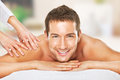 Closeup of a man having a back massage Royalty Free Stock Photos